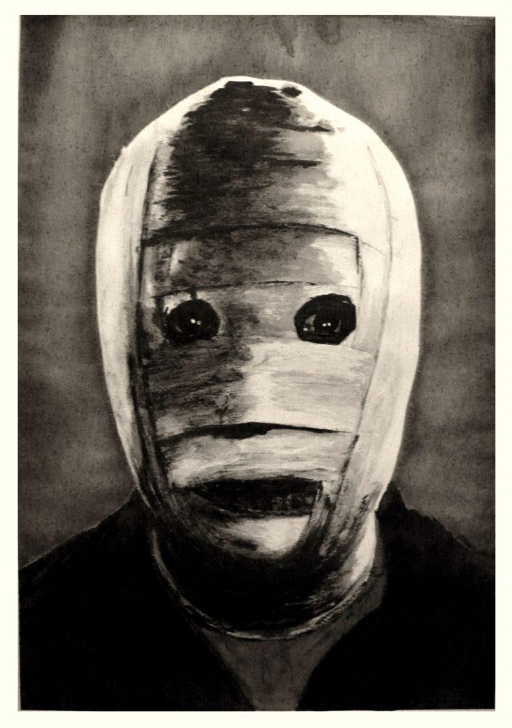 »Die unsichtbare Maske« (Aquarell, Acryl und Tusche auf Papier, 100x70 cm), 2020