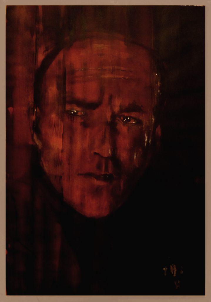 »Hans Belmmer« (Aquarell, Acryl und Tusche auf Papier, 100x70 cm), 2020